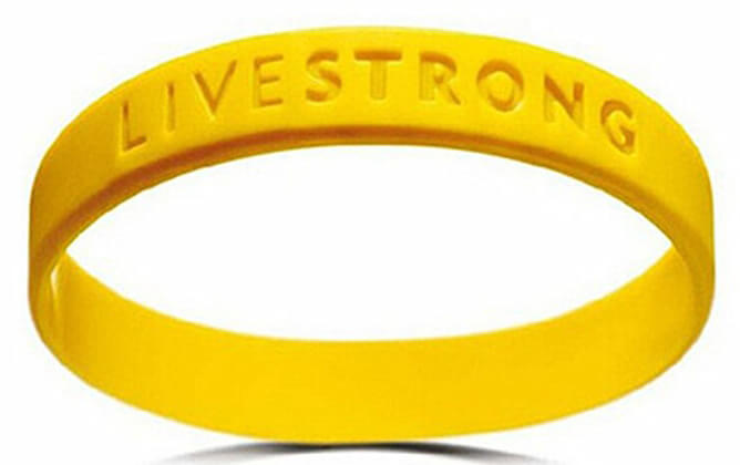 One Piece Custom Debossed Wristband-Living Strong Wristband